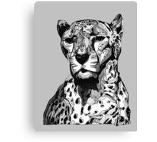 Cheetah Black Tonal Fineliner Drawing Canvas Print