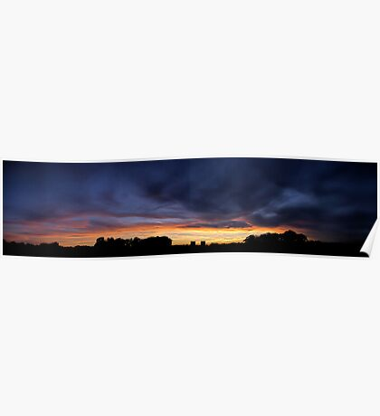 Wanstead Flats Park - HDR Sunset Panorama Poster