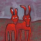 Two donkeys by sword