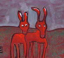 Two donkeys by sword