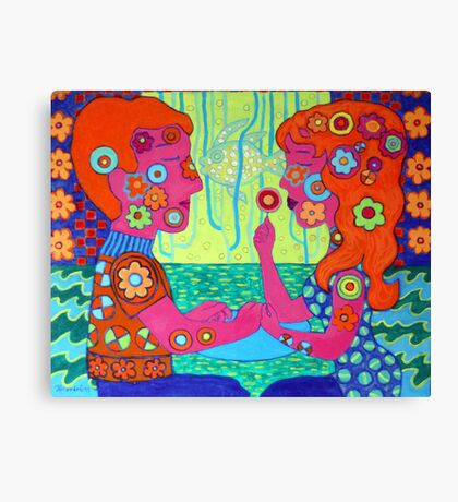 In love, couple, fish, flower Canvas Print
