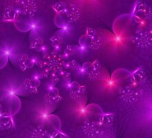 Purple hearts and flowers by inkedsandra