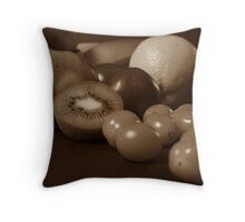 Still Life Fruit - Sepia Throw Pillow