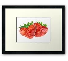 Pair of heart-shaped strawberries Framed Print