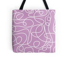 Doodle Line Art | White Lines on Lavender Background Tote Bag