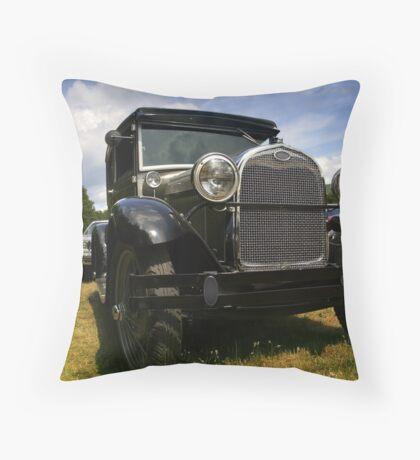 Black classic car Throw Pillow