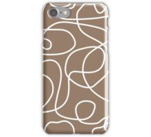 Doodle Line Art | White Lines on Malt Brown Background iPhone Case/Skin