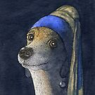 Dog with a pearl earring by SusanAlisonArt