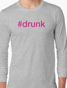 #drunk Hashtag Neon Pink T-Shirt