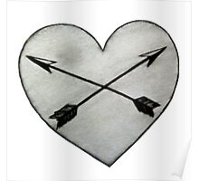heart with crossed arrows Poster
