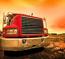 red semi truck by snehit