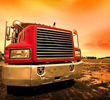 red semi truck by snehit
