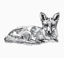 Fox Black Tonal Fineliner Drawing One Piece - Long Sleeve