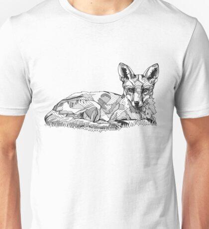 Fox Black Tonal Fineliner Drawing Unisex T-Shirt