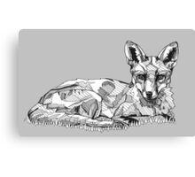 Fox Black Tonal Fineliner Drawing Canvas Print