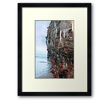 icicles dripping on a cliff face Framed Print