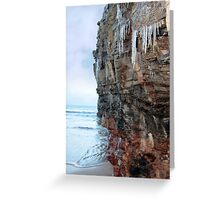 icicles dripping on a cliff face Greeting Card