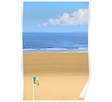 Irish flag waving on the beach Poster
