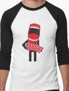 loud singing accordion player Men's Baseball ¾ T-Shirt