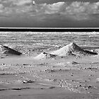 Ice mounds on the shore of Lake Michigan by Robert Kelch, M.D.