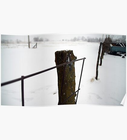 Snowy post and wire fence Poster