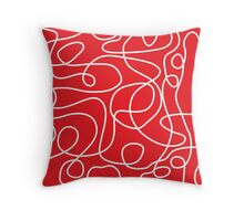 Doodle Line Art | White Lines on Bright Red Background Throw Pillow