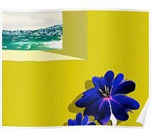 Yellow Stucco Blue Flower Poster