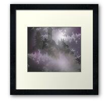 Mist castle in a stormy night Framed Print