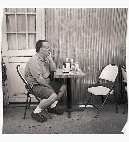 New York City: man alone at restaurant table Poster