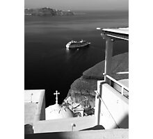 Ship in the Caldera ~ Black & White Photographic Print