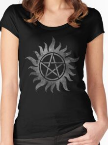 Supernatural Anti-Possession Ghost Print Women's Fitted Scoop T-Shirt