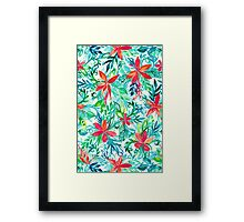 Paradise Floral - a watercolor pattern Framed Print