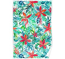 Paradise Floral - a watercolor pattern Poster