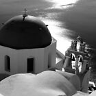 Churches of Santorini ~ Black &amp; White by Lucinda Walter