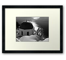 Churches of Santorini ~ Black & White Framed Print