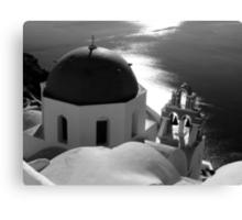 Churches of Santorini ~ Black & White Canvas Print