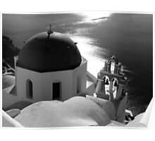 Churches of Santorini ~ Black & White Poster