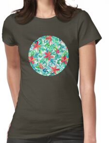 Paradise Floral - a watercolor pattern Womens Fitted T-Shirt