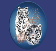 Two White Tigers Oval  by Lotacats