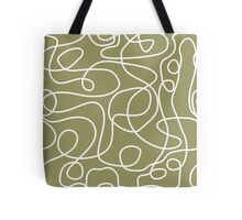 Doodle Line Art | White Lines on Khaki/Olive Green Background Tote Bag