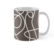 Doodle Line Art | White Lines on Brown Background Mug