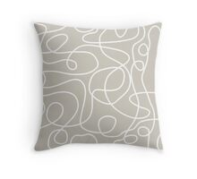 Doodle Line Art | White Lines on Warm Gray Background Throw Pillow