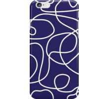 Doodle Line Art | White Lines on Navy Background iPhone Case/Skin
