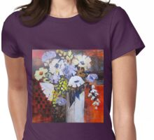 Still Life in White Vase Womens Fitted T-Shirt