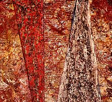 """""""The Divide"""" - Old Paint, Varnish, Ink - Panels - 2011 by Eric Leppanen"""