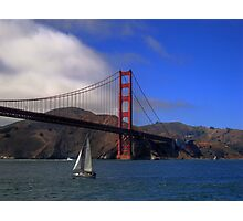 Golden Gate Bridge and a Yacht Photographic Print