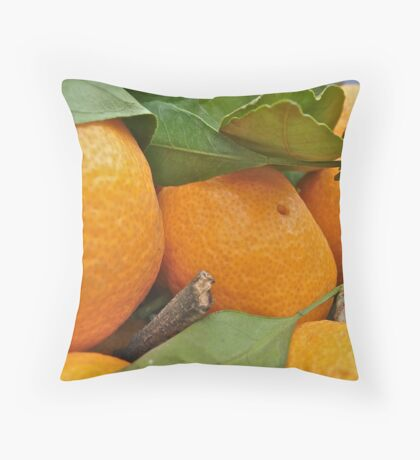 Tangerines at a farmers market Throw Pillow