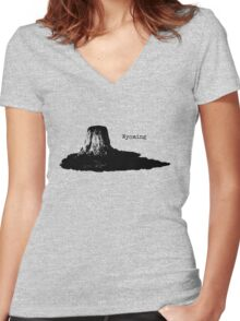 Devils Tower Women's Fitted V-Neck T-Shirt