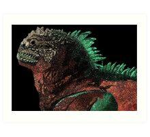 Marine Iguana (Colorized) Art Print