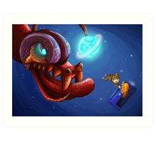 Doctor Who and the monster Art Print